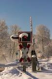 Railroad crossing in winter Stock Photo