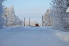 Railroad crossing in winter Royalty Free Stock Photos