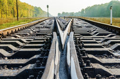 Railroad crossroads close up Stock Images