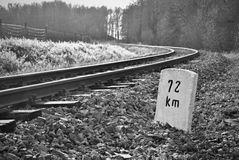 The railroad. The curve on a country railroad Royalty Free Stock Images