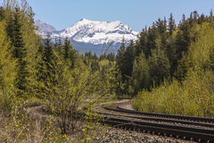 Railroad Curve in Mountains Stock Image