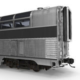 Railroad Double Deck Lounge Car on white. 3D illustration Stock Image