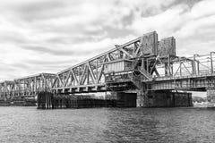 Railroad draw bridge on Connecticut river Royalty Free Stock Photo