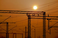 Railroad electric. Pylons on sunset stock photo