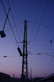 Railroad electric pylons Royalty Free Stock Image