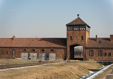 Railroad Entrance to Auschwitz Birkena Royalty Free Stock Image