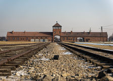 Railroad Entrance to Auschwitz Birkena Stock Images