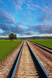 Railroad in field. Railroad in the field on beautiful day Stock Photography