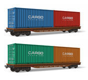 Railroad flatcars with cargo containers. Isolated over white background Stock Photos