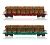 Railroad flatcars with lumber. Isolated over white background Royalty Free Stock Photo