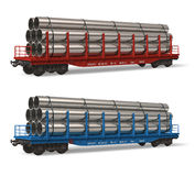 Railroad flatcars with pipes Royalty Free Stock Image