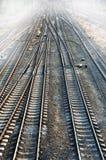 Railroad & fog Stock Photo