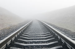 Railroad in fog Royalty Free Stock Photo