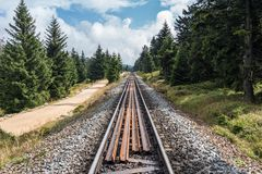 The railroad in forest of Harz, Germany Royalty Free Stock Image