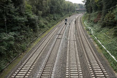 Railroad with four tracks Royalty Free Stock Photo