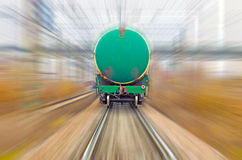 Railroad freight train. Speed rail trip Stock Images