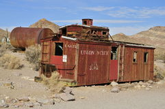 Railroad freight wagon; Rhyolite Ghost Town, Nevada. Remains of an old Union Pacific railroad car in Rhyolite, Nevada Royalty Free Stock Photo
