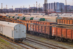 Railroad freight wagons Stock Photo