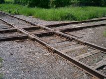 Railroad frog crossing. stock photography