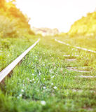 Railroad. The railroad goes into the distance Stock Photography