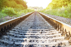 Railroad. The railroad goes into the distance Stock Photo