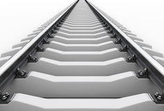 Railroad going into the distance. On a white. Road to nowhere. 3d illustration Stock Photos