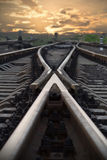 Railroad going into the sunset Stock Image