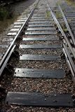 Railroad going to the perspective of sunny days. View from below royalty free stock photography