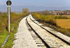Railroad at the Greek-Bulgarian borders Stock Photo
