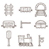 Railroad hand drawn icons. Set of hand drawn railroad icons: wagons, semaphore, railway station clock, locomotive, barrier, tunnel. Transport shipping delivery Stock Images