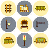 Railroad hand drawn icons. Set of hand drawn railroad icons: wagons, semaphore, railway station clock, locomotive, barrier, tunnel. Transport shipping delivery Royalty Free Stock Photography