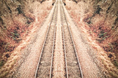 Railroad hdr. Rail track hdr abstract in vivid autumnal colors Stock Photos