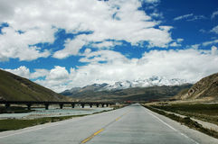 Railroad and highway in Tibet Royalty Free Stock Image
