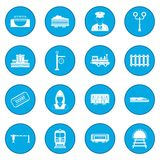 Railroad icon blue. Railroad simple icon blue isolated vector illustration Royalty Free Stock Images
