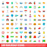 100 railroad icons set, cartoon style Stock Photo
