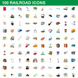100 railroad icons set, cartoon style. 100 railroad icons set in cartoon style for any design vector illustration vector illustration