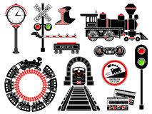 Railroad icons set, simple style. Railroad icons set in simple style isolated on white background. Vector illustration stock illustration