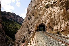 Railroad In Mountain Pass Stock Photo