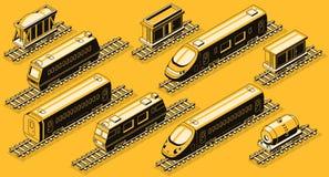 Railroad industry elements isometric vector set royalty free illustration