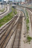 Railroad infrastructure. The picture shows a railroad infrastructure of big city royalty free stock photo