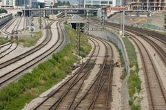 Railroad infrastructure. The picture shows a railroad infrastructure of big city stock photography