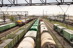 Railroad infrastructure - freight train station royalty free stock images