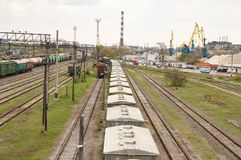 Railroad infrastructure - freight train station stock photography