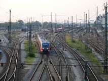 Railroad infrastructure for goods and passenger transportation system. In Augsburg royalty free stock photos