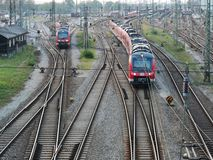 Railroad infrastructure for goods and passenger transportation system. In Augsburg stock images
