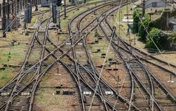 Railroad interchange. Weave rail,rails, sleepers stock photo
