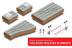 Railroad isolated elements for rail freight transportation. Vector flat 3d isometric illustration of  railroad signal Royalty Free Stock Photos