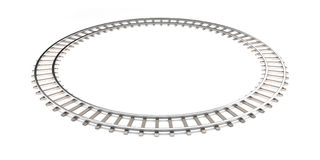 Railroad isolated on the white in the infinity shape. Royalty Free Stock Image