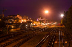 Railroad. Ivano-Frankivsk city at night Royalty Free Stock Image