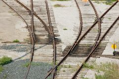 Railroad junction. A Junction of four railroad lines stock photography